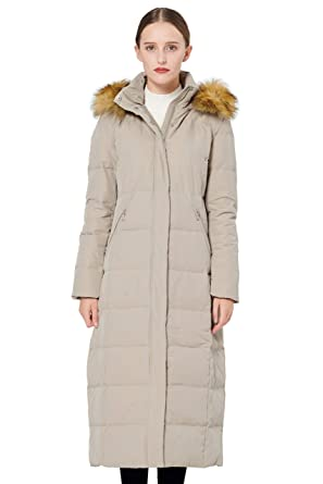 f9b88bca67f Amazon.com  Orolay Women s Maxi Puffer Down Coat with Faux Fur Hood ...
