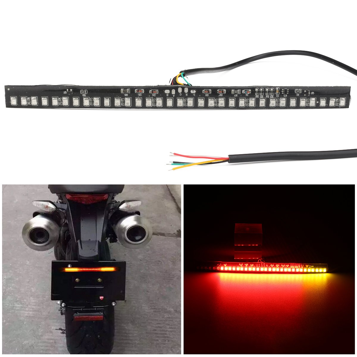 KOYA Waterproof Universal 33-2835 SMD LED Motorcycle Flexible Strobe Light Strip Turn Signal Tail Brake and License Plate Led Light Strips (ADP33)