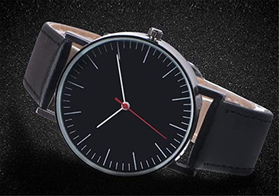 Amazon.com : freedomer Simple Men Watch Luxury Clock Leather Band Quartz Wrist Watches Fashion Men Watch relojes para Hombre(Black, 1) : Sports & Outdoors