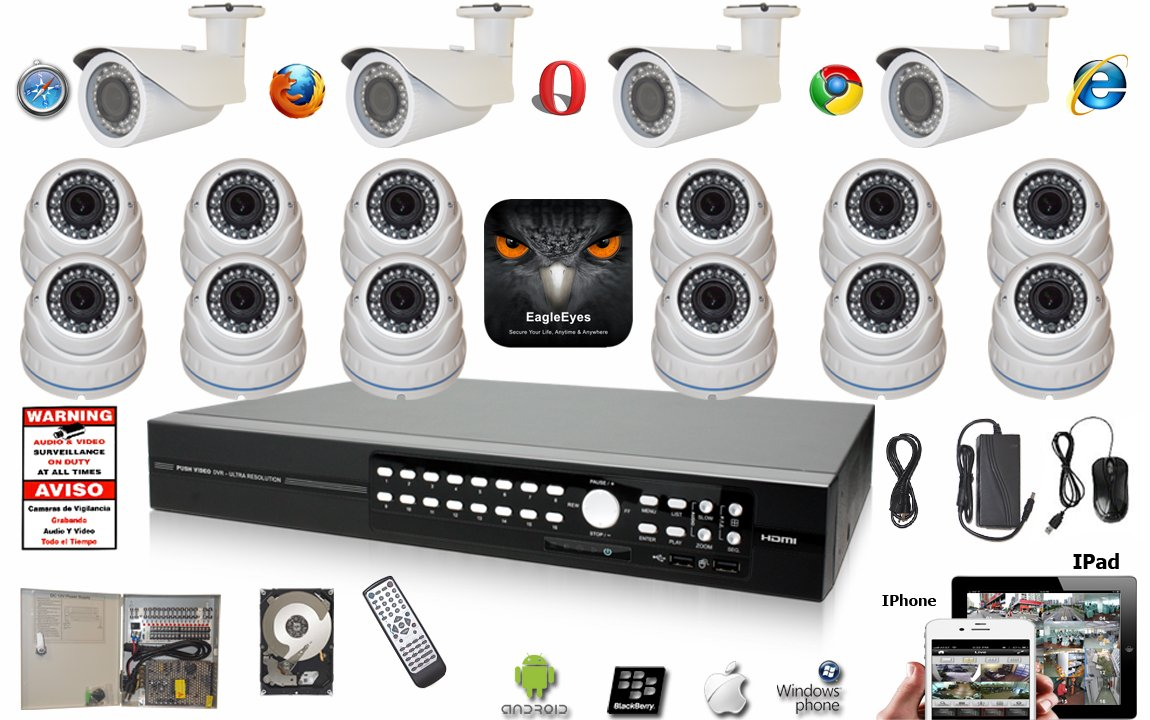 Amazon.com : Evertech 16 Channel Push Video EagleEyes DVR H.264 960H Full Security Surveillance System 1000 TV Line Dome & Bullet Outdoor Zoom Cameras + 2 ...