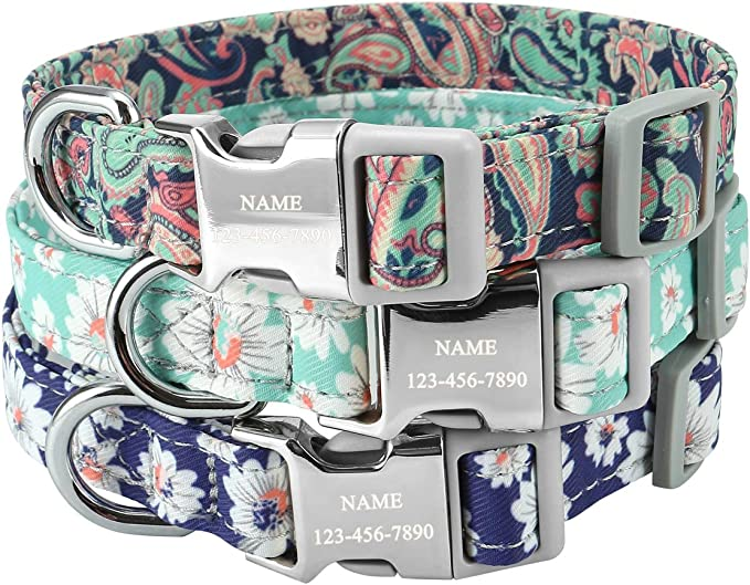 tagless personalized tag option metal and YKK buckle choice STAIN RESISTANT grey flowers and leaves dog collar 2 in 1 product