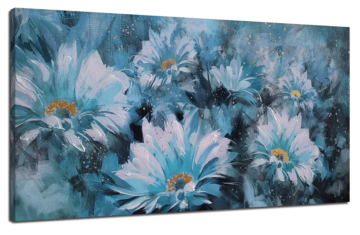 Canvas Wall Art Prints Blue Flowers Modern Floral Abstract Daisy Painting With Hand Painted Embellishment One Panel Large Wooden Framed Picture For