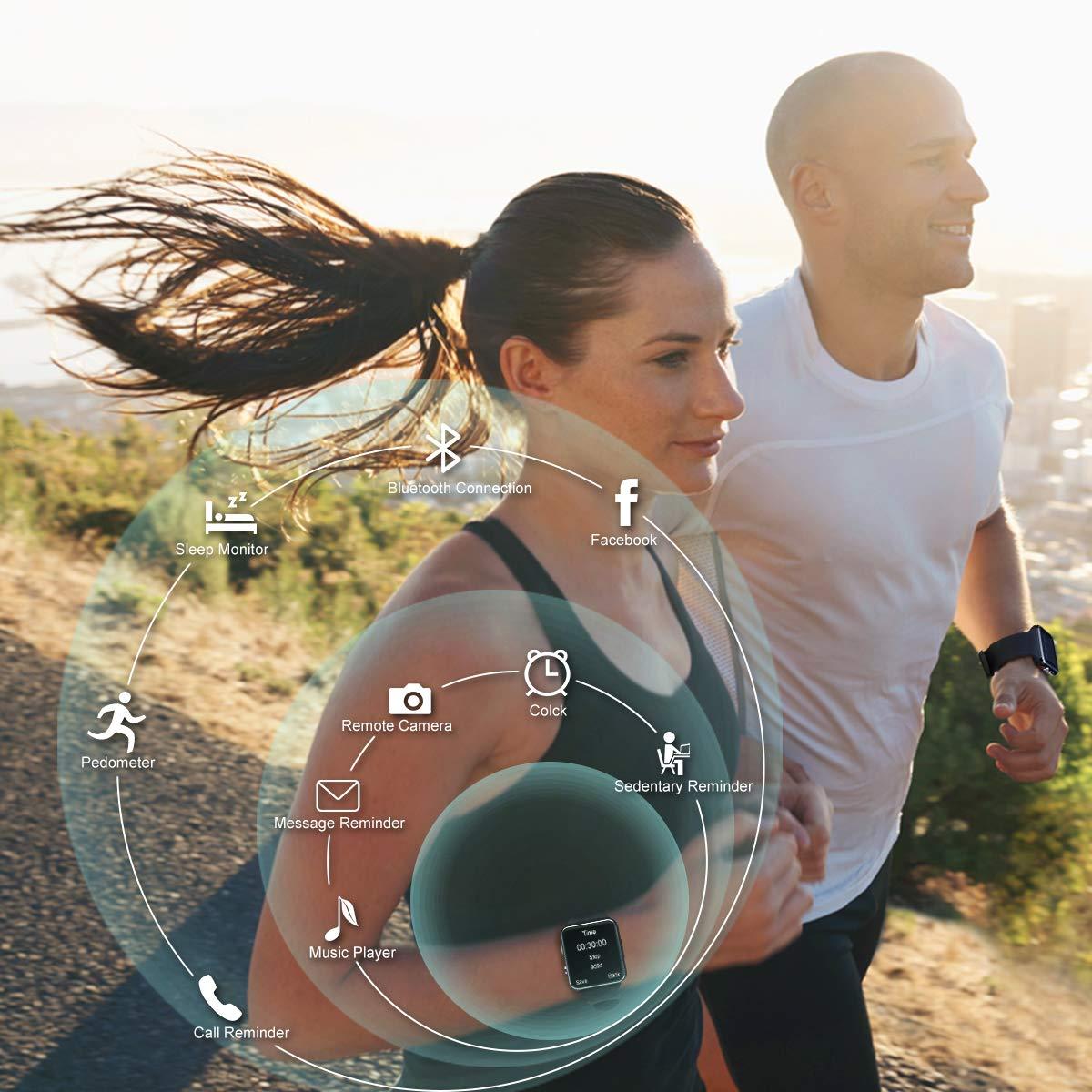Reloj Inteligente Android, Smartwatch con Pulsómetro Reloj Inteligente Resistente al Agua Fitness Tracker con Cronómetro, Podómetro, Contador de ...