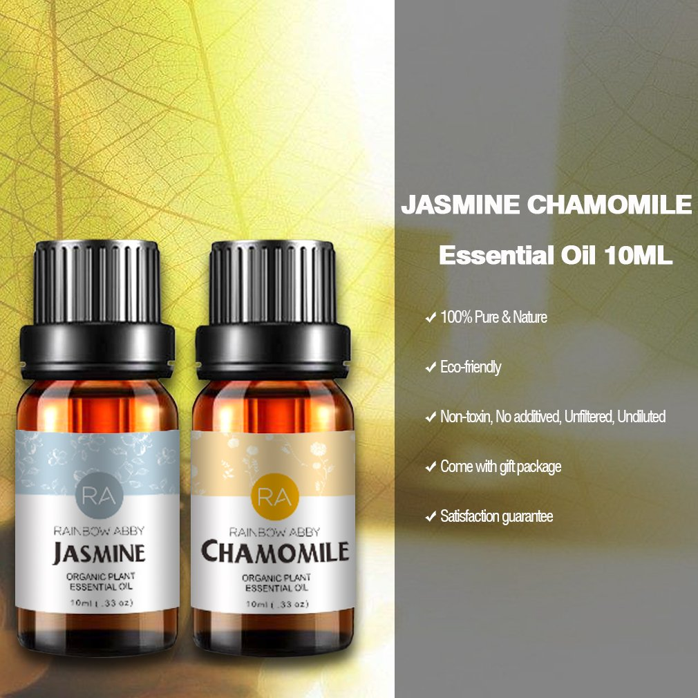 Jasmine Chamomile Essential Oil, 100% Pure Aromatherapy Oils Natural Therapeutic Grade Oils 2x10mL, Value 2 Pack by RAINBOW ABBY (Image #2)