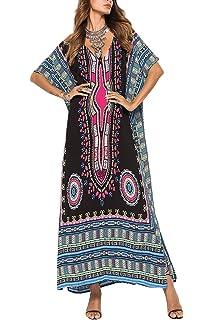 b70e579f9d22f Rbwinner Women's Soft African Print Beach Cover Up Ethnic Dashiki Print  Kaftan Bathing Suit Maxi Dress