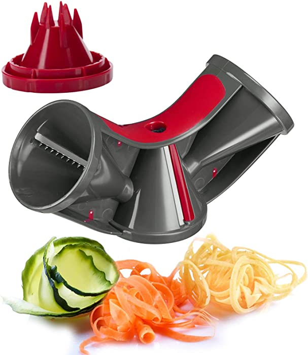 Westmark Stainless Steel Tri-Blade Vegetable Spiral Slicer Spiralizer Julienne Cutter (Red/Black)