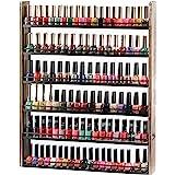 J JACKCUBE DESIGN Rustic Wood Nail Polish Organizer with 6 Tier shelves 100 bottles Wall Mount Display Rack Makeup…