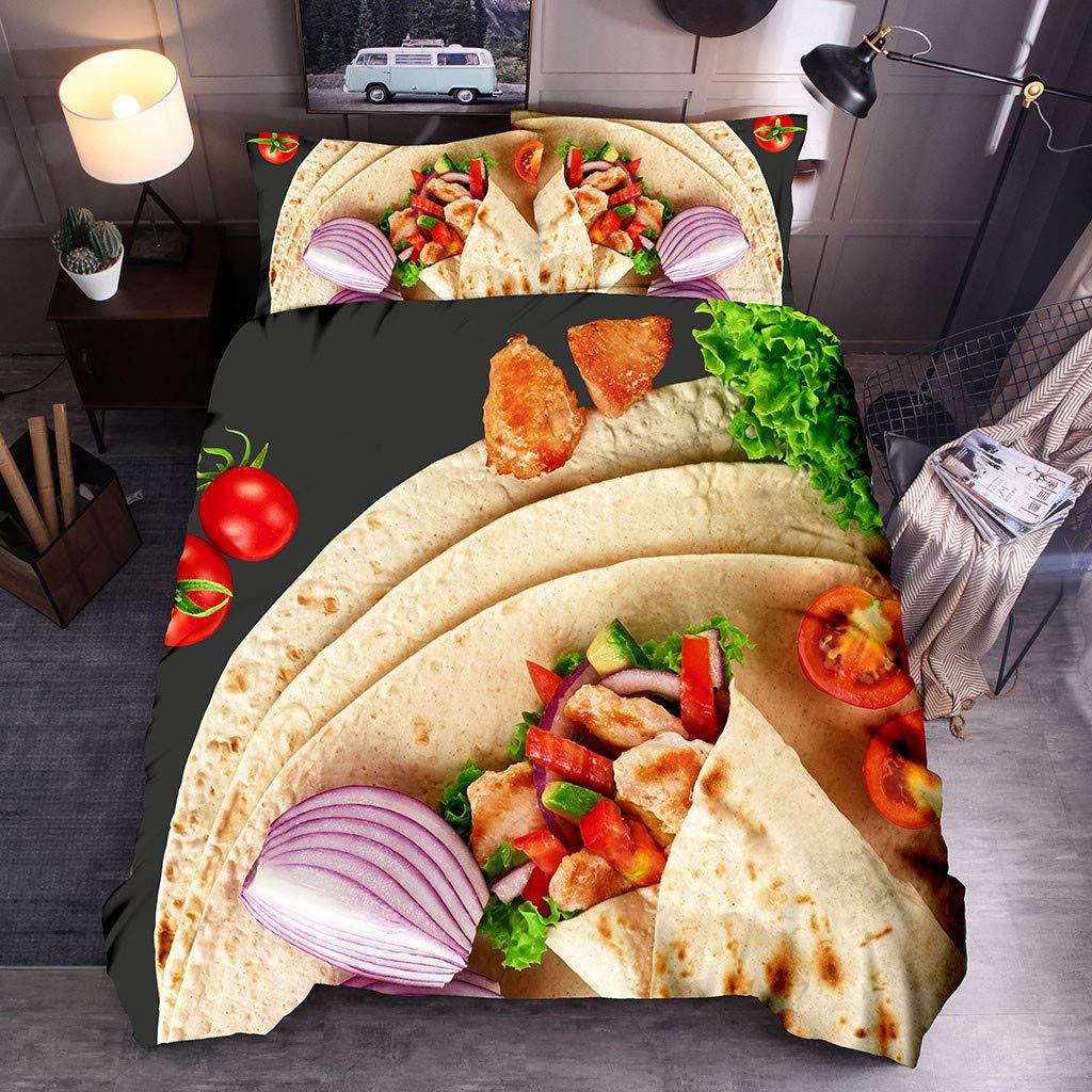 3PCS/Set Double Duvet Cover Bxzhiri 3D Creative Super Soft Colorful Mexican Burritos Blanket