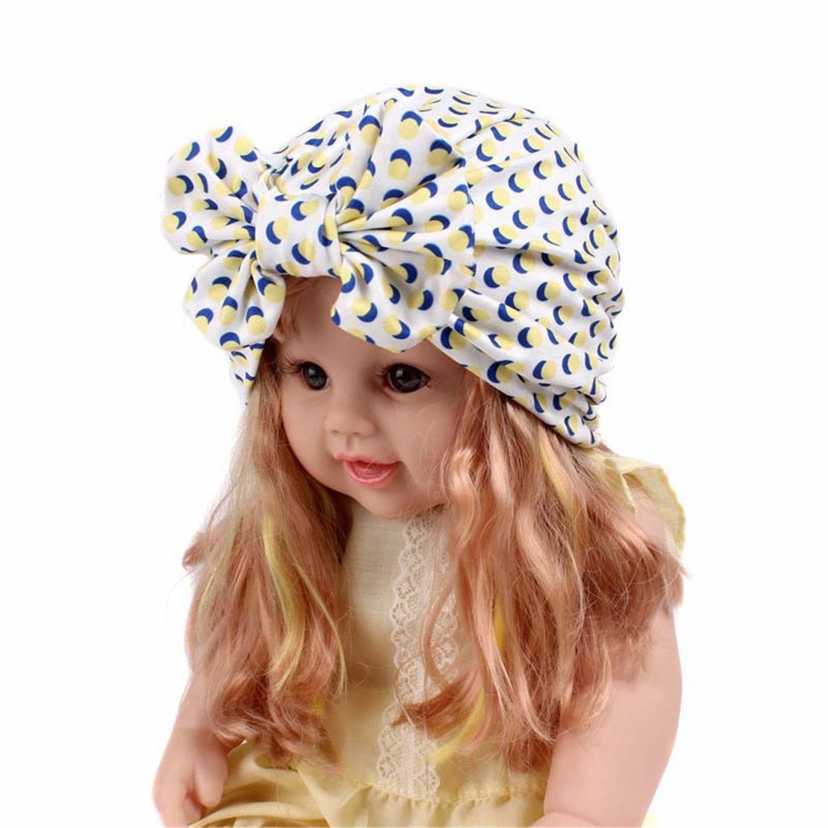 15ac2f3ebc9 Amazon.com  Qhome Girls Vintage Big Bow Headbands Fruit Pattern Kids Hat  Girl Soft Cute Turban Kids Beanie Knotted Hair Band  Clothing