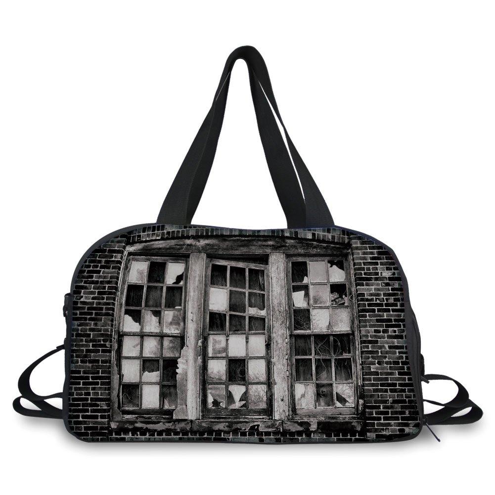 Travel handbag,Industrial,Broken Window Missing Glass Pane Derelict Blight Factory Brick Wall Decorative,Charcoal Grey Pale Grey ,Personalized
