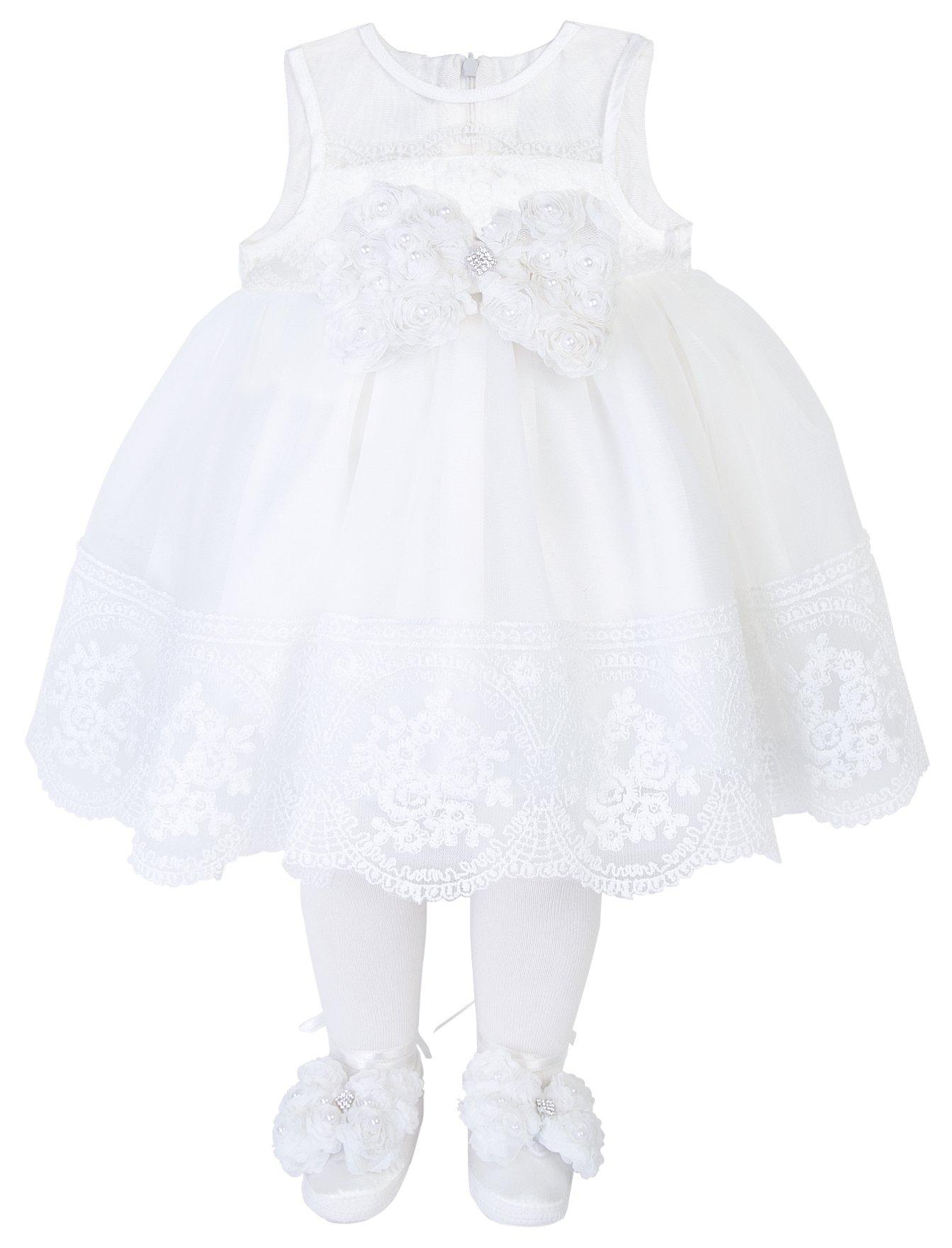 ec15e7bcf1 Taffy Baby Girl Christening Baptism Embroidered Dress Gown 6 Pcs Set 0-3  Months