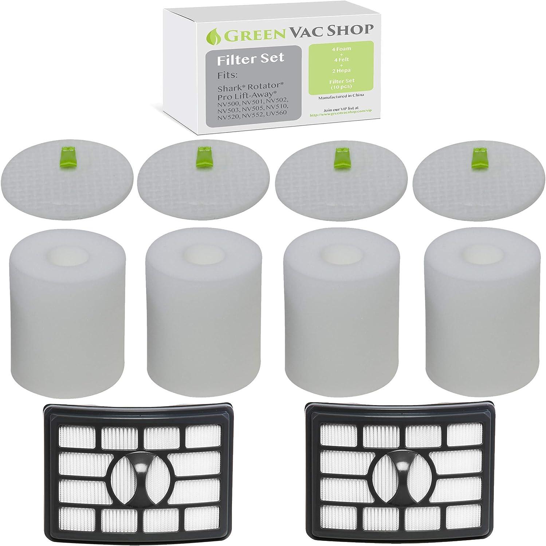 2 Pack HEPA /& Foam Filter Kit for Shark Rotator Pro Lift-Away NV500 NV501 NV505