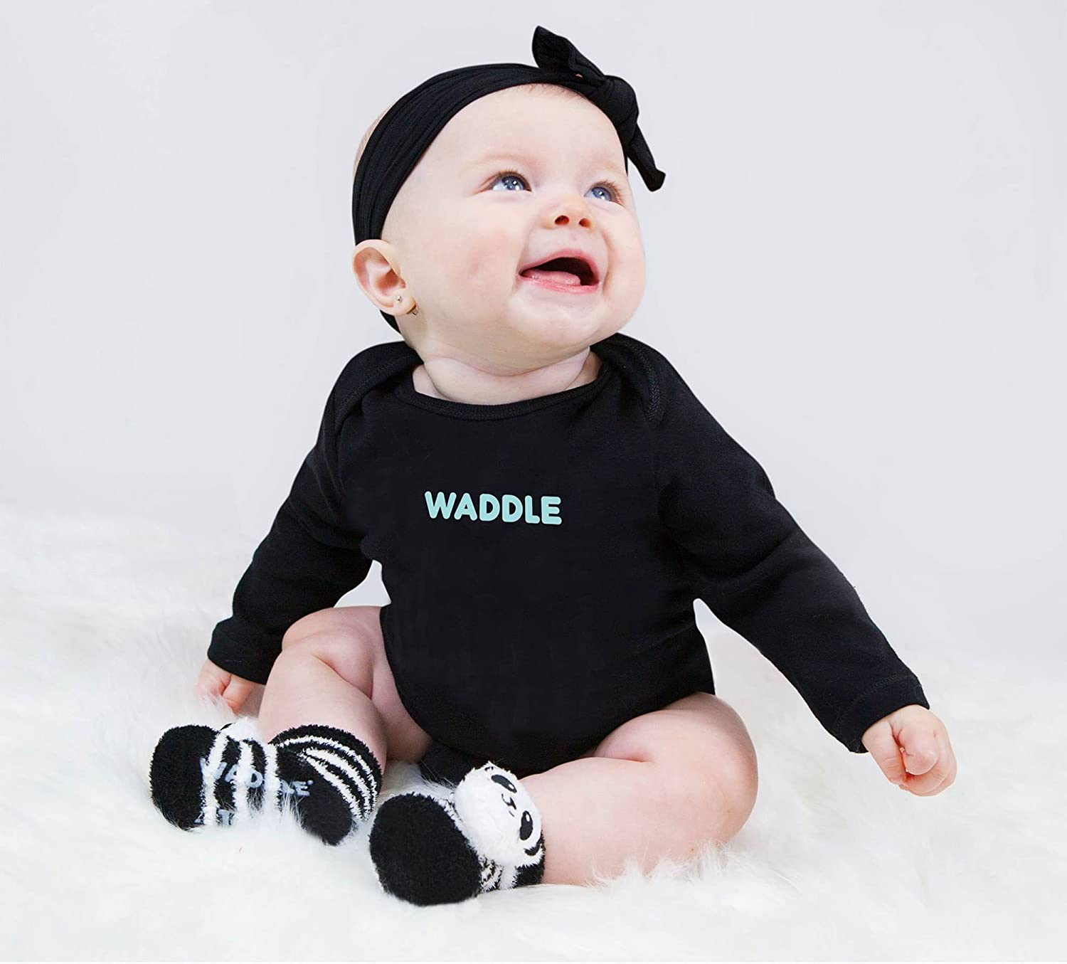 Amazon Com Waddle Cute Newborn Baby Panda Bear Animal Rattle Socks