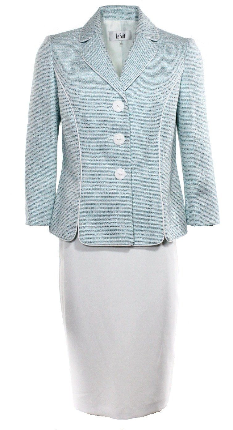 LeSuit Womens Two-Piece Three-Button Petal Collar Tweed Jacket and Skirt Suit Le Suit Women' s Suits 50032707