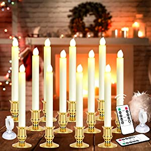 MAOYUE 12 Pack Window Candles Battery Operated Candles with Timer Flameless Candles Battery Candles with 2 Remote Controls Christmas Window Lights Flickering Candles for Christmas Decorations, Gold