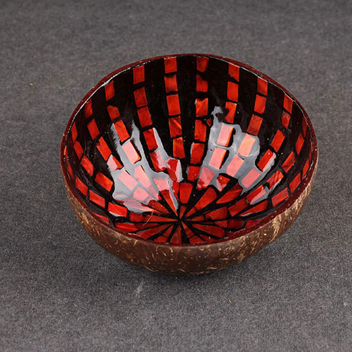 Red MJJEsports Colourful Natural Coconut Shell Bowl Eco-Friendly Handicraft Art Work Decorations
