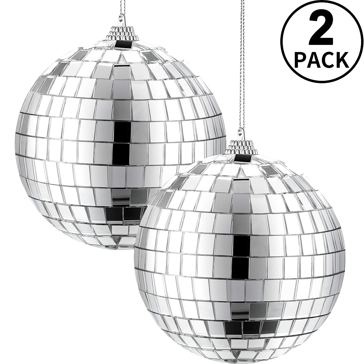 2 Packs 4 Inch Mirror Disco Ball, 70's Disco Party Decoration, Hanging Ball for Party or DJ Light Effect, Home Decorations, Stage Props, Game Accessories (Silver)