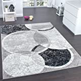 Paco Home Tapis De Créateur Contemporain avec Cercles Marbré en Gris Noir Crème, Dimension:120x170 cm