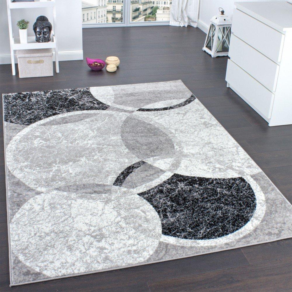 Alfombra De Diseño para Sala De Estar con Grabado De Círculos Gris Crema, tamaño:190x280 cm