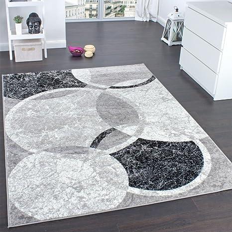 Paco Home Tappeto di Design per Salotto Motivo A Cerchio Grigio ...