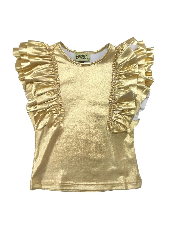 Sophie Catalou Little Girls Gold Metallic Shine Ruffle Embellished Top 3-6