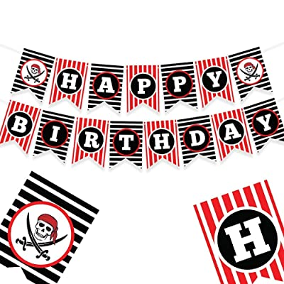 PIRATE THEMED HAPPY BIRTHDAY BANNER - Pirate party supplies - pirate decorations - pirate birthday party supplies - pirate party - pirate pinata - pirate party favors - pirate birthday party - pirate theme party supplies - pi
