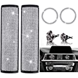 6 Pieces Bling Crystal Diamond Car Accessories Set, Include Bling Car Seat Belt Covers,Bling Black Rose Cute Car Air…