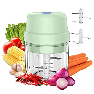 Wireless Electric Mini Food Chopper 250ML,Portable Garlic Blender Press Chopper with USB Charging,Small Food Processor Perfect for Vegetables,Fruit,Meats,Garlic (Plastic Bowl)