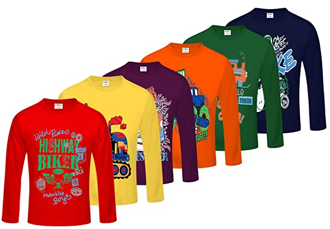 3465149a5a997 Kiddeo Boy s Cotton Full Sleeves T-Shirts - Pack of 6  Amazon.in ...