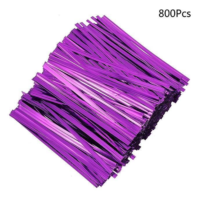 Plastic Twist Bag Gift Bag Cable Ties,10cm,800pcs,Blue STOBOK Metallic Twist Ties
