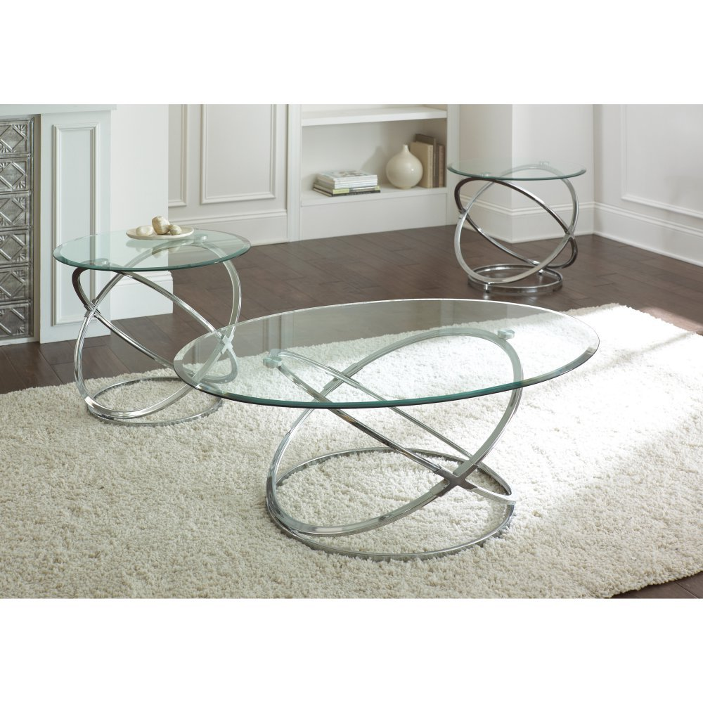Charmant Amazon.com: Steve Silver Orion Oval Chrome And Glass Coffee Table Set:  Kitchen U0026 Dining