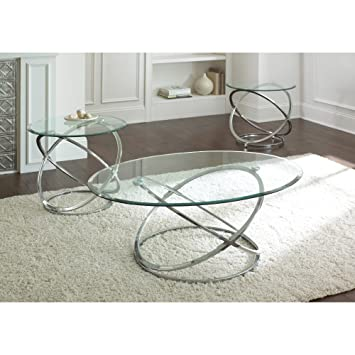 Amazon.com: Steve Silver Orion Oval Chrome And Glass Coffee Table Set:  Kitchen U0026 Dining