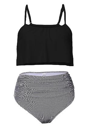 88acb2cfe6 Amazon.com: Macochoi Women's Falbala Swimsuits High Waist Striped Bottom  Bikini Set (FBA): Clothing