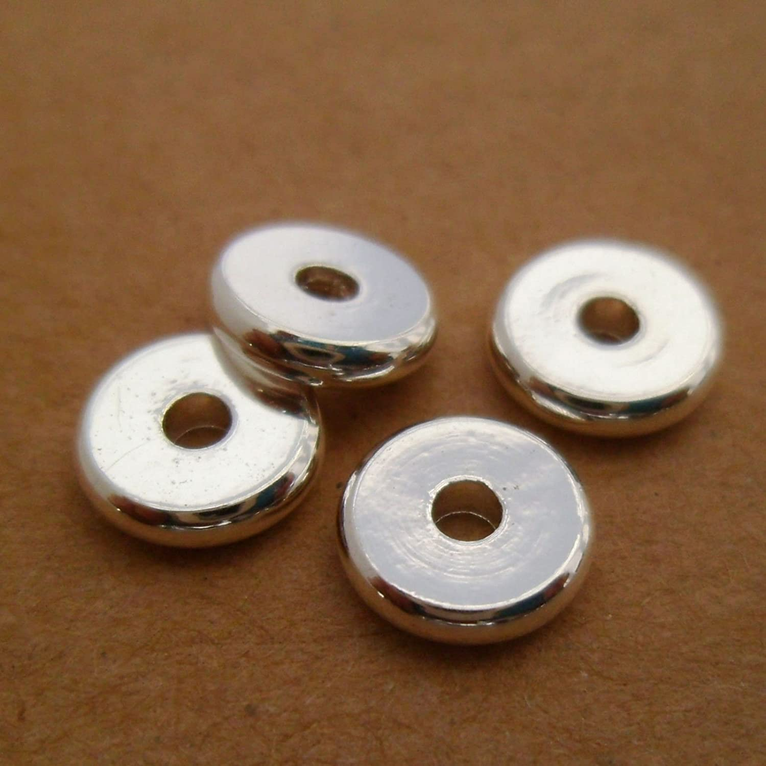 jennysun2010 6mm Solid Metal Flat Disc Round Rondelle Slice Bracelet Necklace Connector Spacer Charm Beads Silver 100 Pcs per Bag for Earrings Jewelry Making Crafts Design