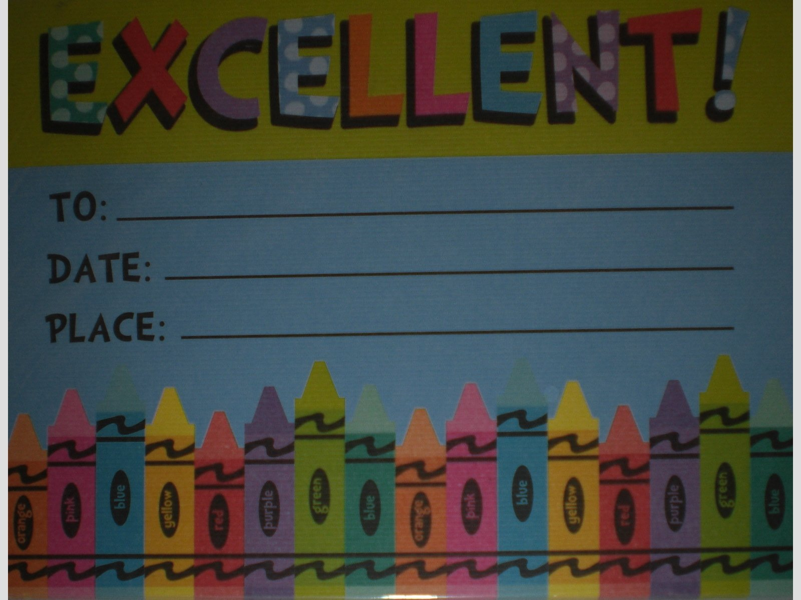 Excellent Award Certificates - Crayons - Pack of 24