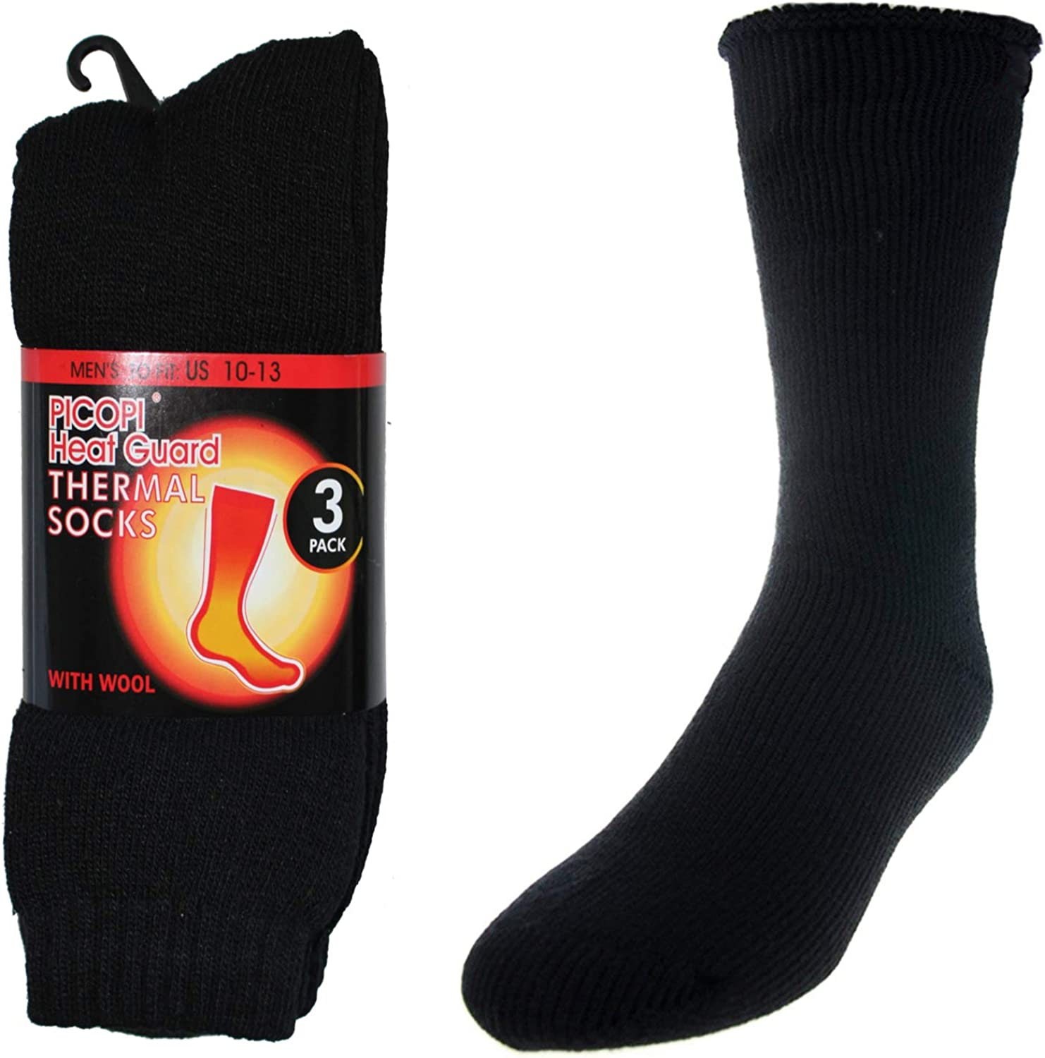 3 Pairs of Thick Heat Trapping Insulated Heated Boot Thermal Socks Pack Warm Winter Crew For Cold Weather