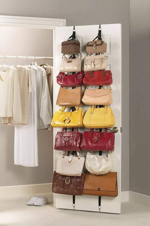 Soluci/ón para Guardar Cinturones o Sombreros Ayuda a Mantener Objetos Ordenados y al Alcance de la Mano 1 Pieza Organizador para Bolsas con Ganchos Ajustables Ducomi