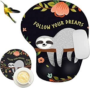 Mouse Pad with Wrist Support Rest,Rossy Baby Sloth Design Ergonomic Gaming Mousepad Non-Slip Rubber Base Wrist Cushion for Office Computer Laptop + Coasters and Cute Stickers