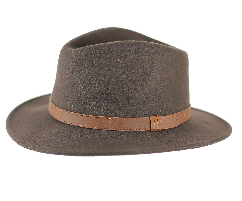 cc8e00df62578e Unisex Mens Women Vintage 100% Felt Wool Wide Brim Crushable Fedora Hat 4  Sizes: Amazon.co.uk: Clothing
