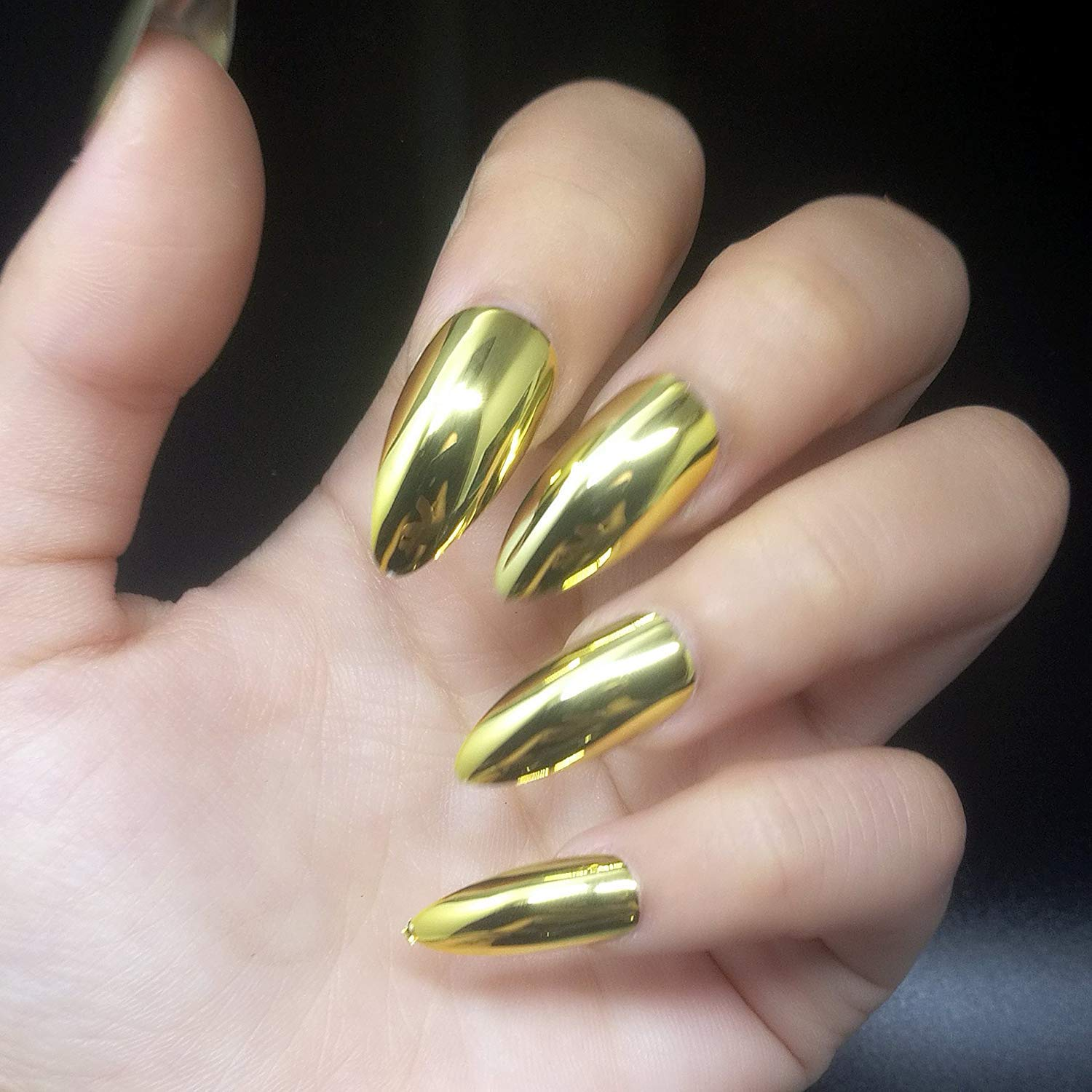 24pcs 12 Different Size Stiletto Gold Magic Mirror Reflection Medium Length Full Cover False Nails with Design by SIUSIOBeauty
