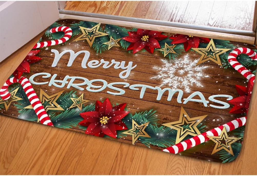 HUGS IDEA Merry Christmas Doormat Welcome Door Mat Rug Indoor/Outdoor Mats Decor Rug for Home/Office/Bedroom