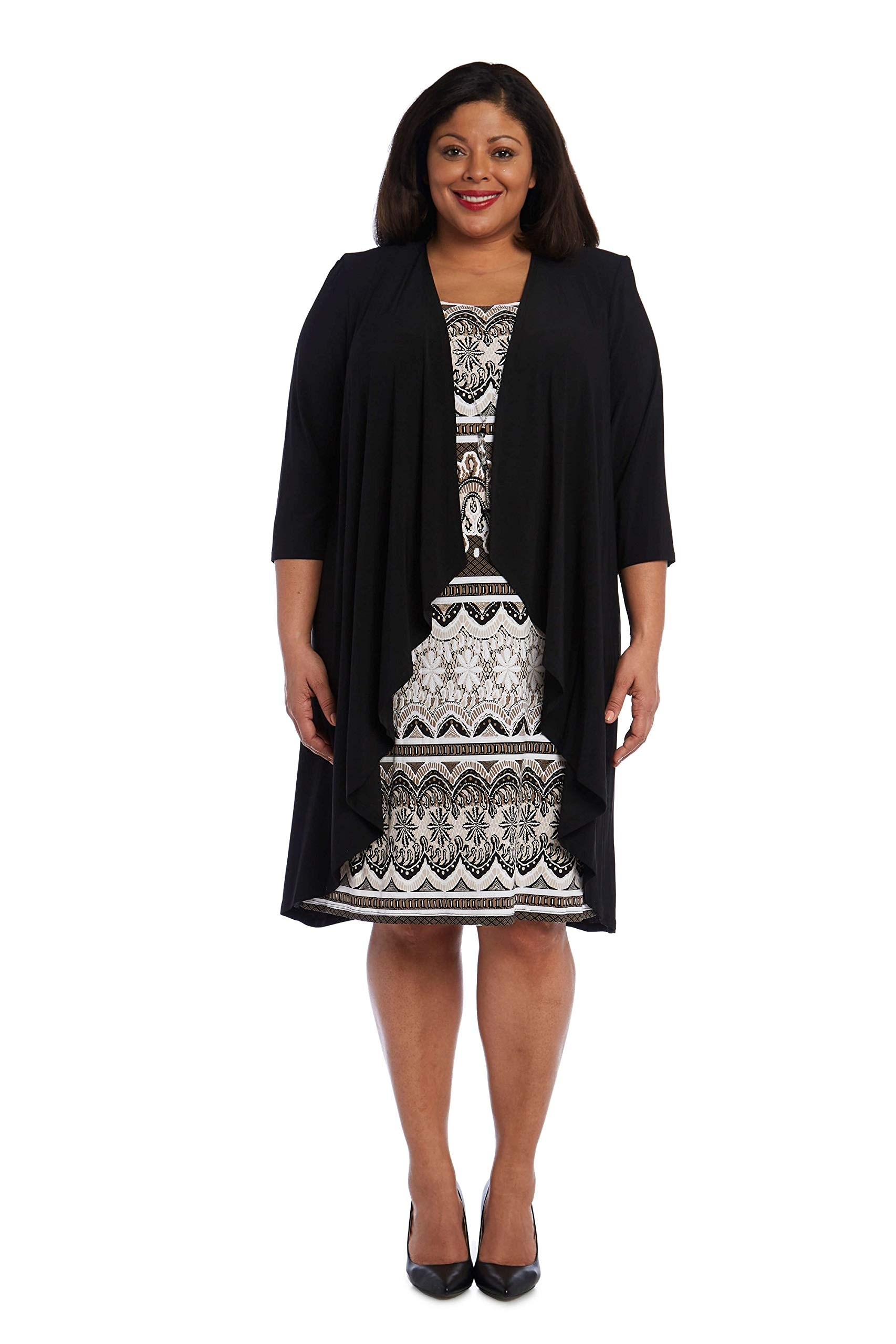 R&M Richards Plus Size Mother of The Bride Short Dress Jacket - Black - 16W