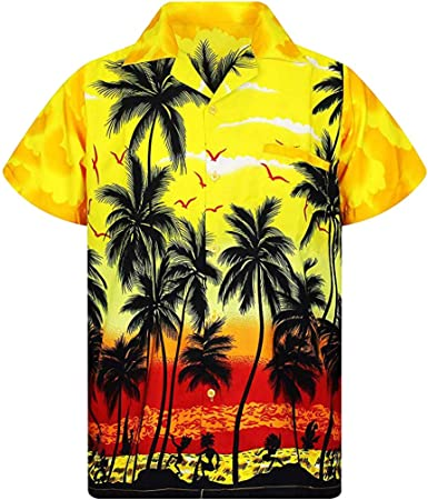 Gusspower Hombre Camisa Hawaiana de Manga Corta Camiseta Moda de impresión de Diseño de Palmeras con Bolsillo Delantero Ropa de Playa, Fiestas, Surf, Verano y Vacaciones: Amazon.es: Ropa y accesorios