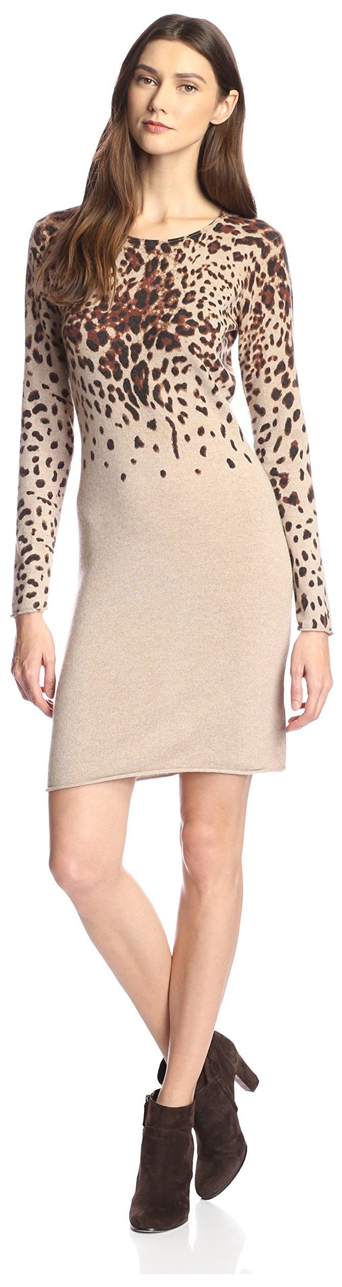 James & Erin Women's Cashmere Leopard Print Sweater Dress, Natural Multi, S