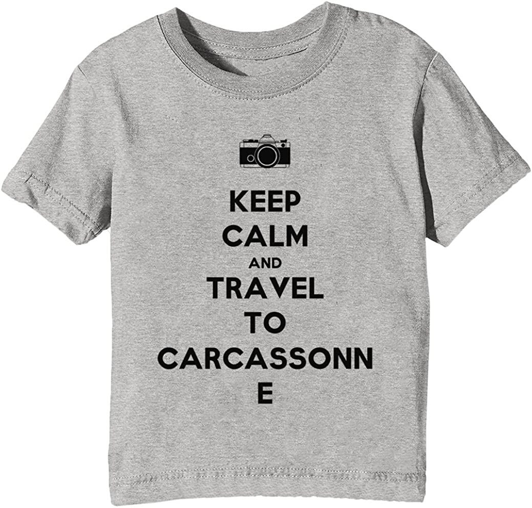 Keep Calm and Travel To Carcassonne Niños Unisexo Niño Niña Camiseta Cuello Redondo Gris Manga Corta Tamaño XL Kids Unisex Boys Girls T-Shirt Grey X-Large Size XL: Amazon.es: Ropa y accesorios