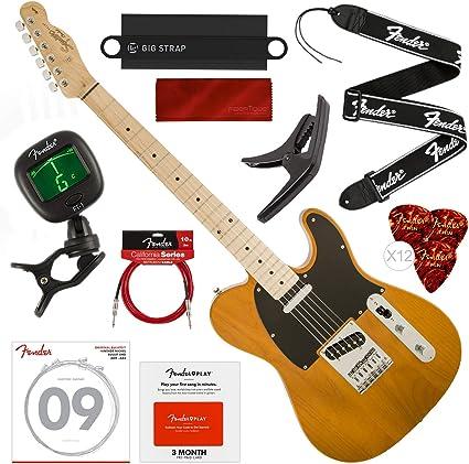 Squier por Fender Affinity Series Telecaster Guitarra eléctrica para principiantes, rubio Butterscotch con Fender Play tarjeta prepagada, afinador, correa, cuerdas, púas, cable y paquete de inicio de lujo: Amazon.es: Instrumentos musicales