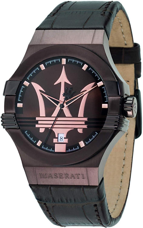 Reloj para Hombre, Colección Potenza, Movimiento de Cuarzo, Solo Tiempo con Fecha, en Acero, PVD Marrone y Cuero - R8851108011