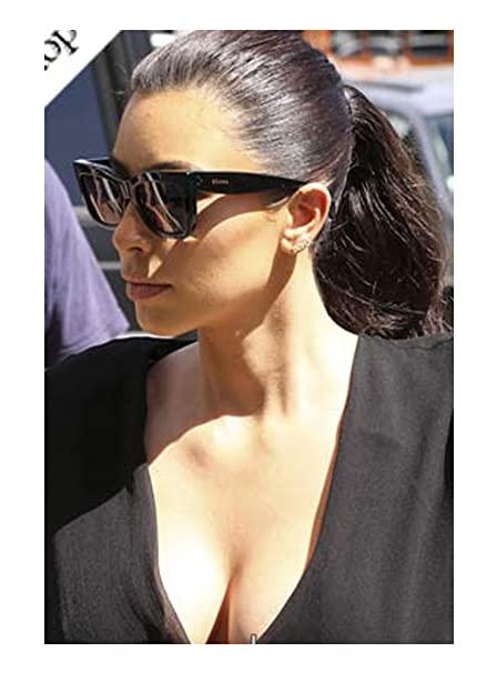 e323a112234 Celine Popular Geo Square CL41048 Black Frame Sunglasses (As seen on Kim  Kardashian)  Amazon.ca  Clothing   Accessories