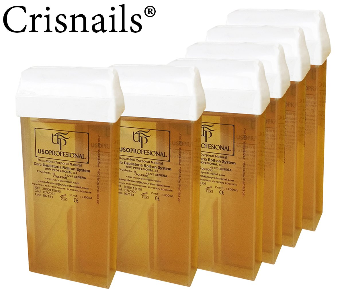 Crisnails® 6 Cartuchos Roll-Ons de Cera Depilatoria Tibia de 100ml ...