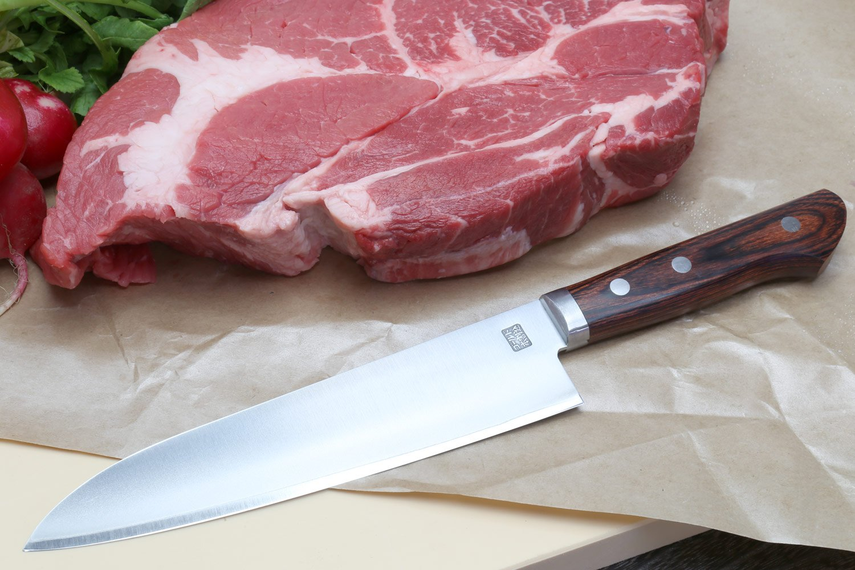 Yoshihiro VG-1 Gold Stainless Steel Gyuto Japanese Chef Knife 7'' (180mm) Magnolia Wood Saya Cover by Yoshihiro (Image #8)
